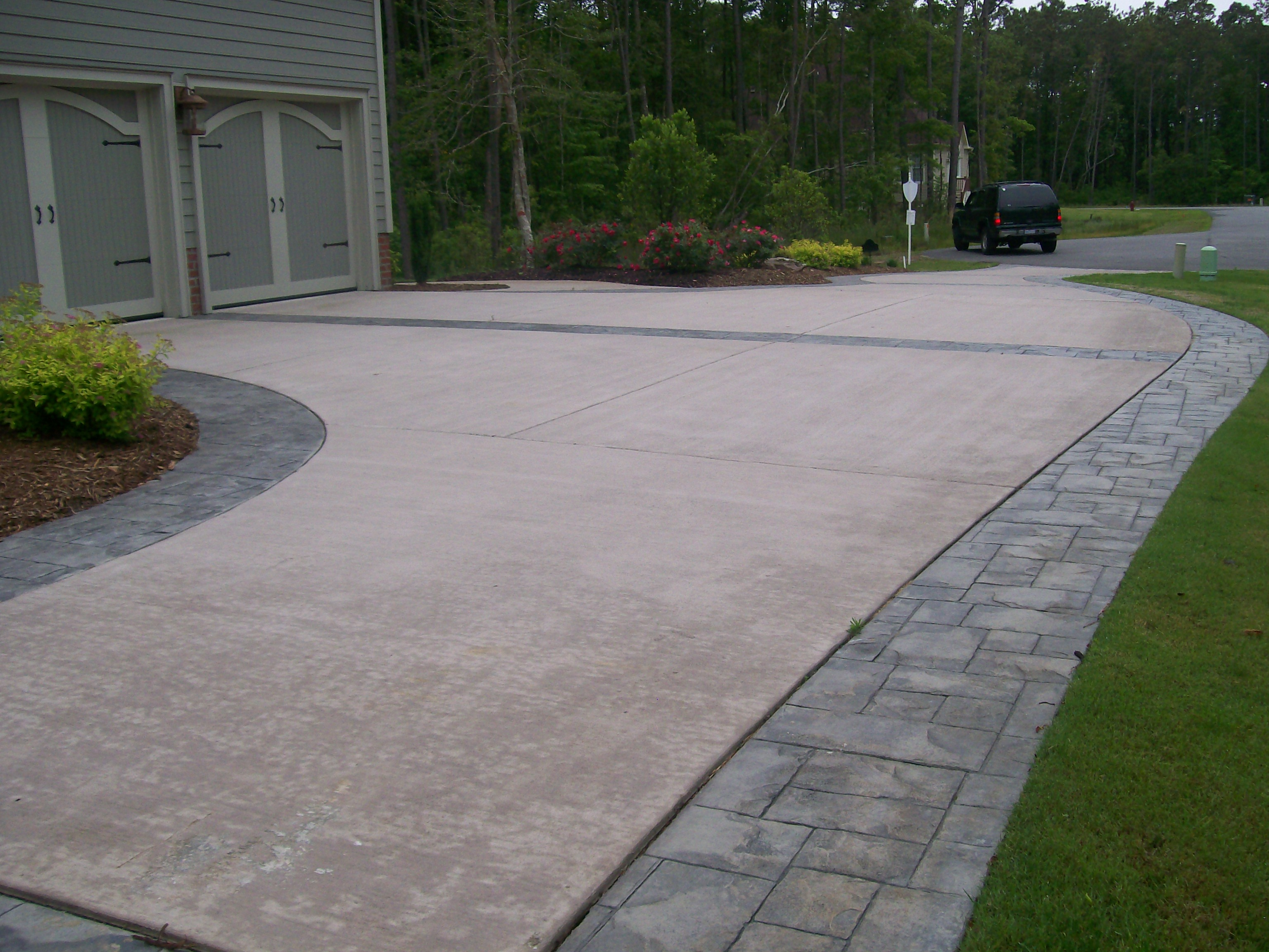 Concrete Stamped Border Driveway With Broom Finish Interior